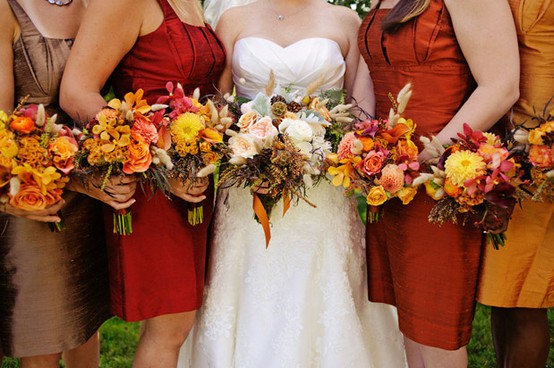 Autumn colors for bridesmaid dresses