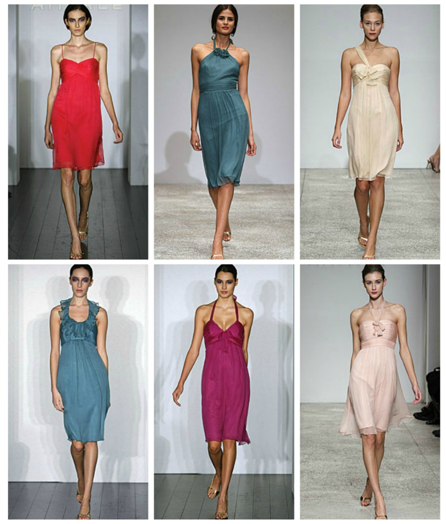 Short bridesmaid dresses from Amsale in crinkle chiffon available at Ready or Knot