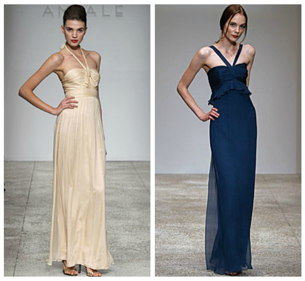 Crinkle chiffon bridesmaid gowns from Amsale available at Ready or Knot
