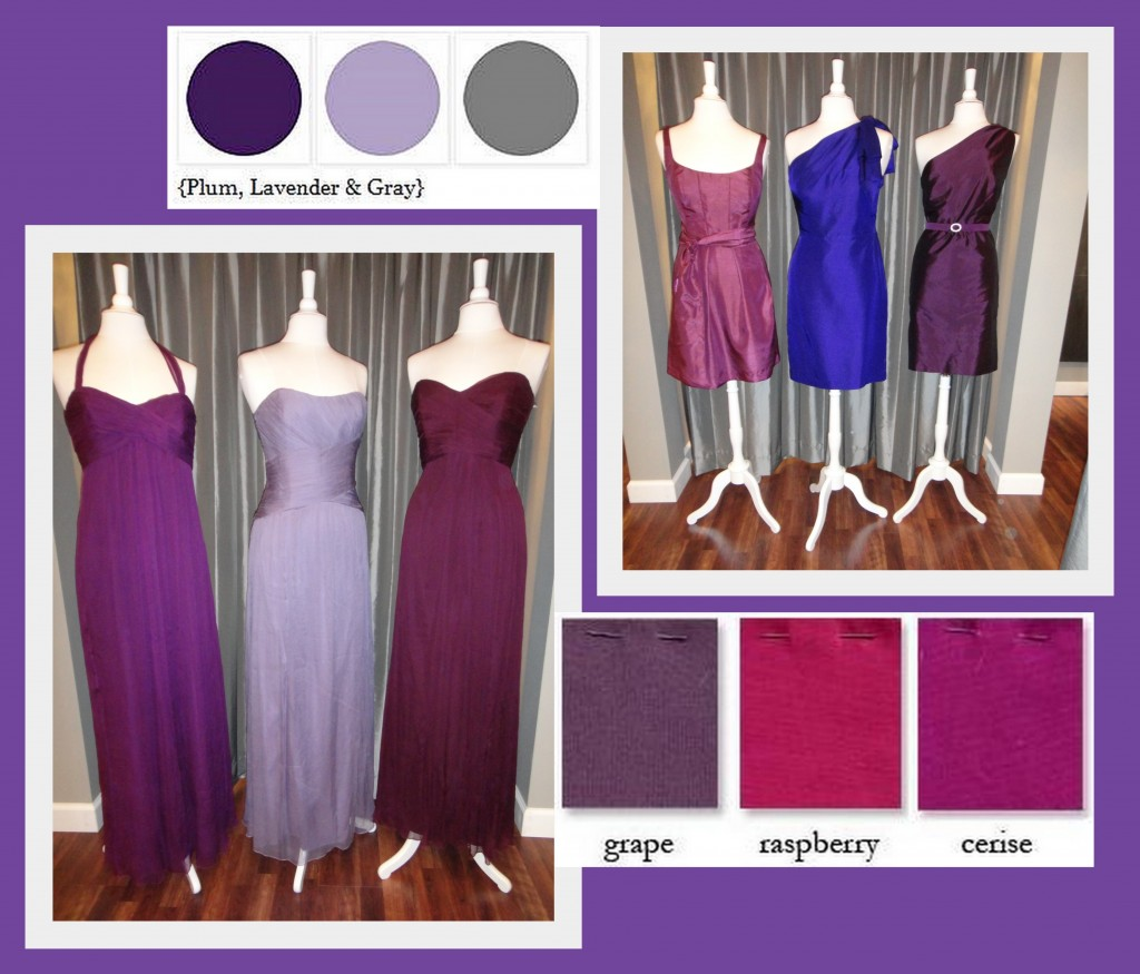 Purple palette bridesmaid dresses from Amsale, Jenny Yoo and Anna Elyse available at Ready or Knot {Wedding Chic}