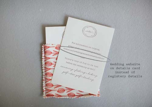 "Add details from your registry onto a ""Details Card"" instead of invitation"