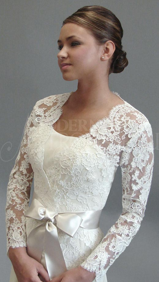 Cover up in lace jacket with full sleeves