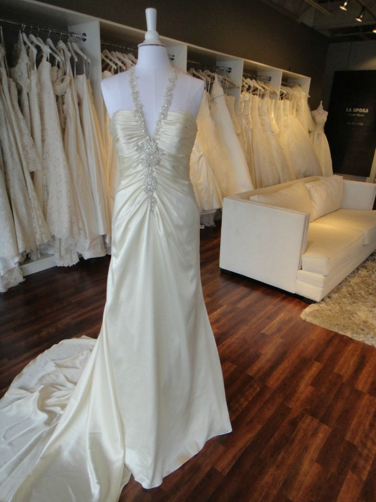 No need for extra bling with this wedding gown from La Sposa, now available at Ready or Knot