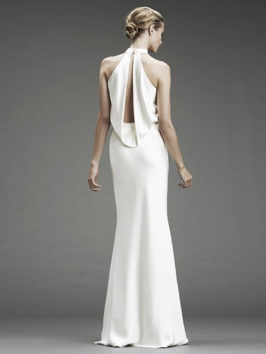 Double face satin halter gown with open back
