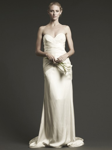 Silk gown with side tuck detail and sweetheart top
