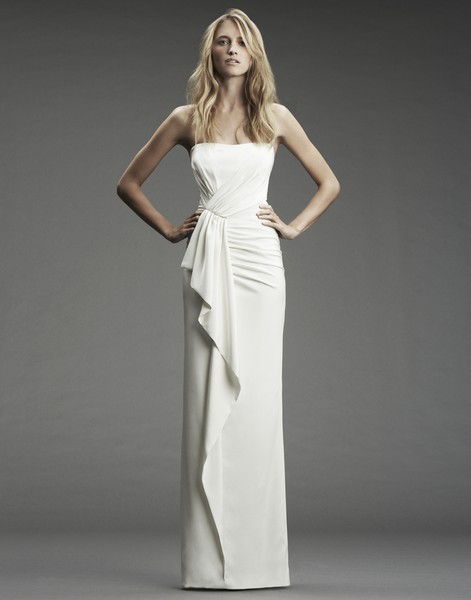 Strapless stretch silk gown with front ruffle by Nicole Miller