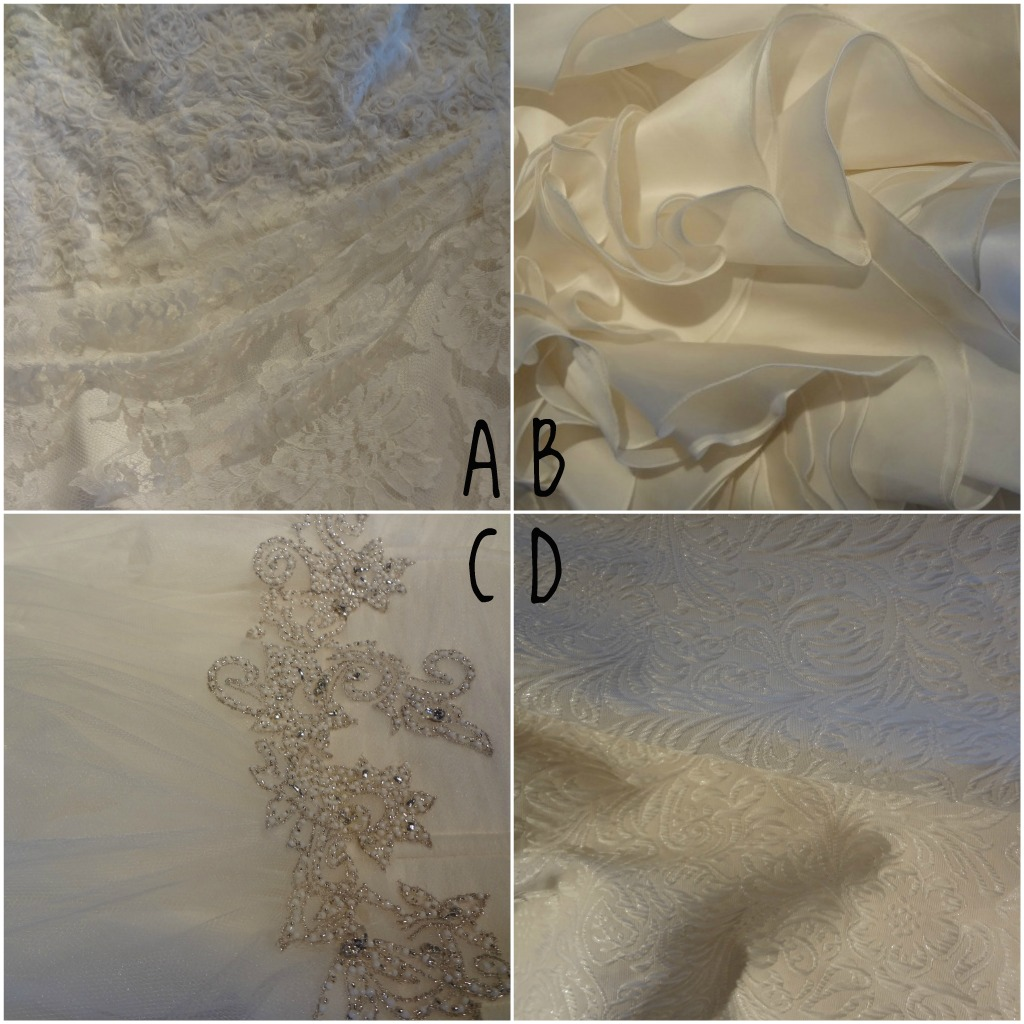 Featured wedding dress fabrics and textures from Ready or Knot