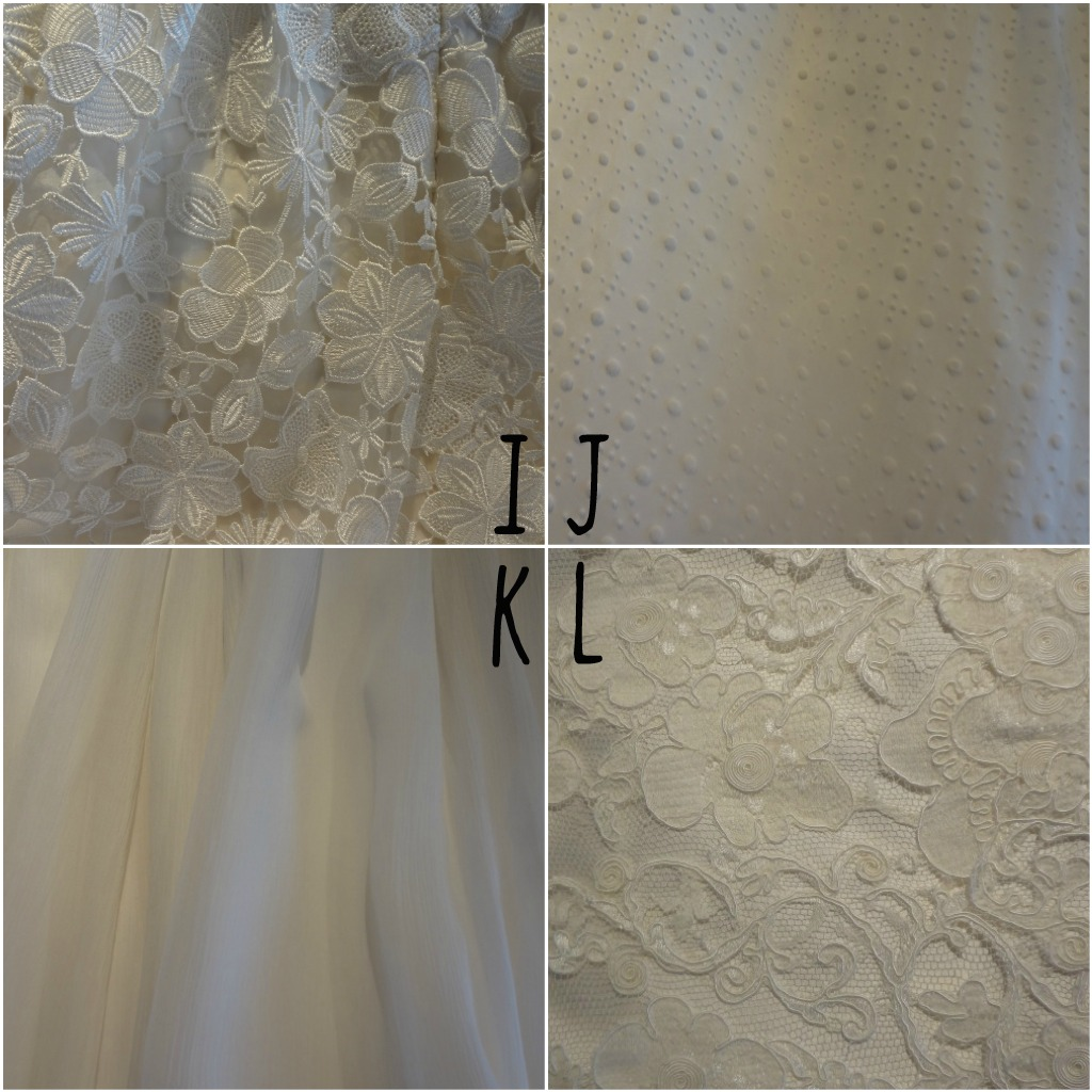 Different texture of wedding dresses