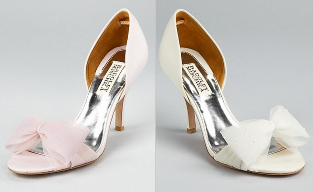 Wedding heels with satin bows