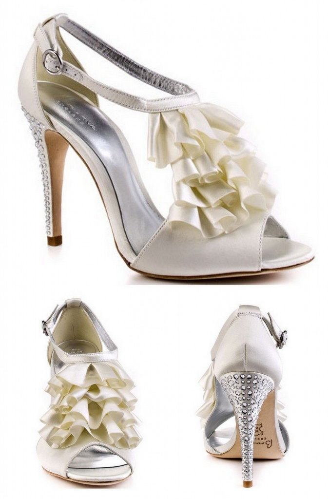 Wedding heels with ruffles and blinged heel
