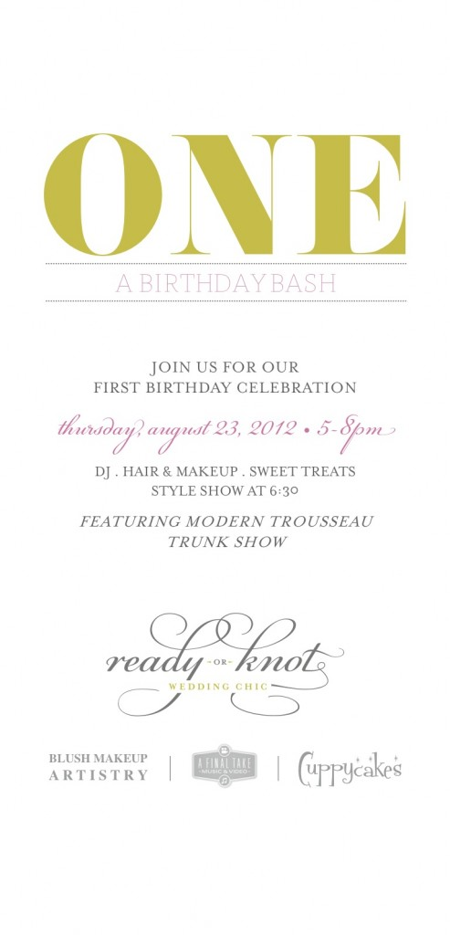 ONE...A Birthday Bash, Ready or Knot, Omaha, Ne