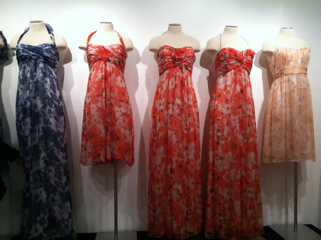 Amsale bridesmaid dresses in prints