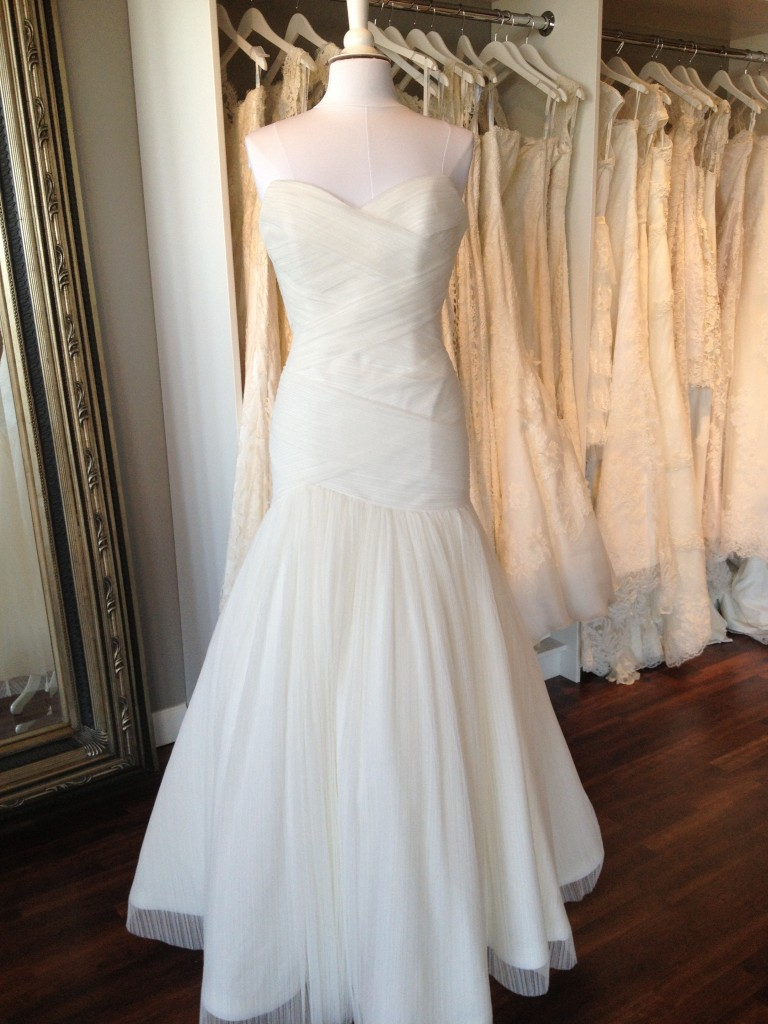 Modern Trousseau Wedding Dress, Kensley, available at Ready or Knot, Omaha, Ne