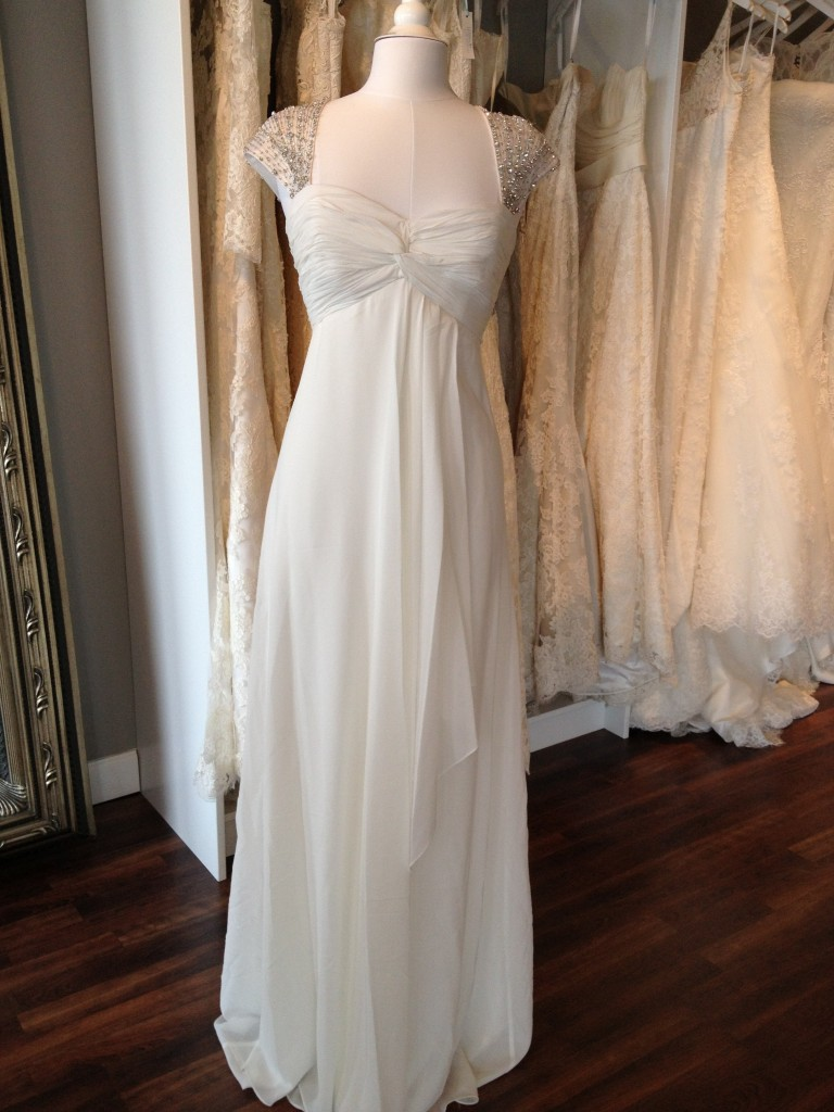 Nicole Miller Rhinestone Cap Sleeve Wedding Dress, available at Ready or Knot