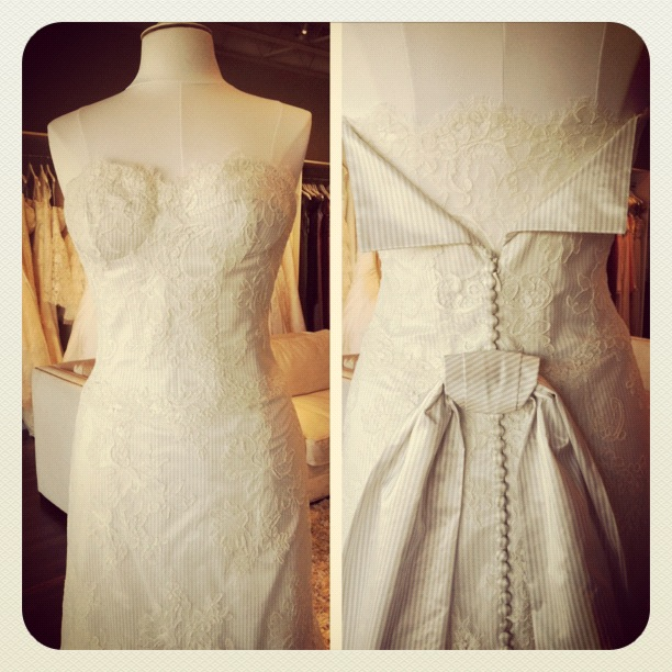 New Modern Trousseau Wedding Dress, Dove, stripes, available at Ready or Knot, Omaha, Ne, Rockbrook Village