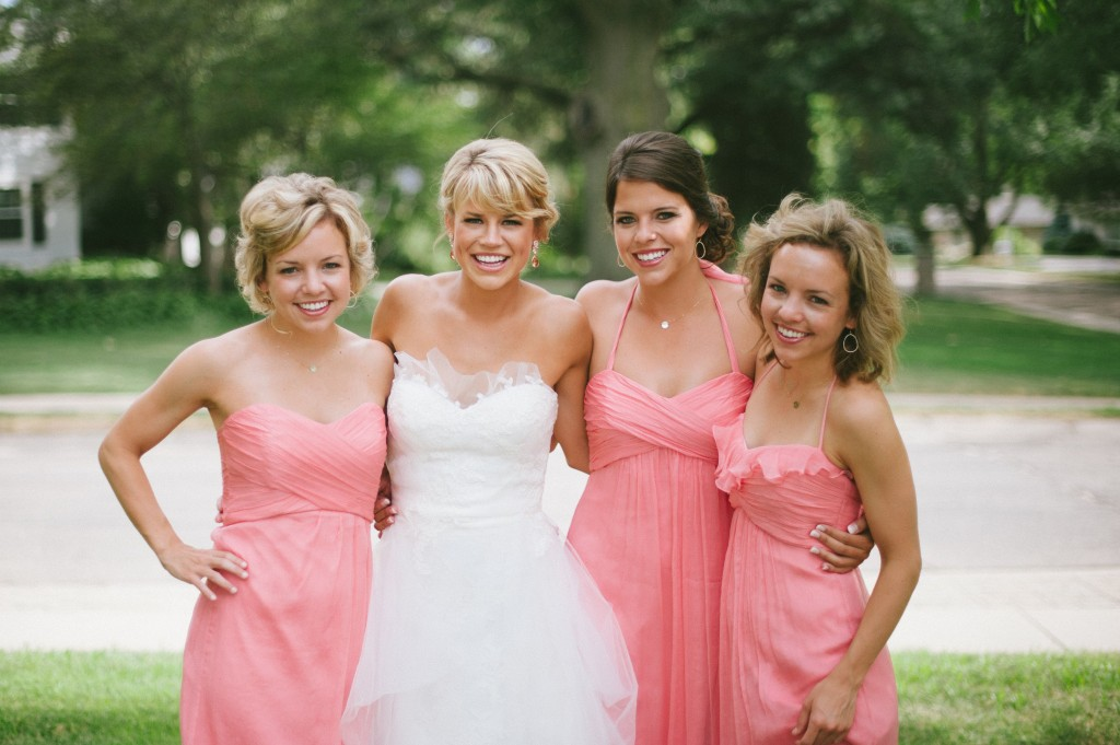 Ready or Knot Bridesmaids - Peetz Wedding, Amsale dresses in Guava, available at Ready or Knot, Omaha