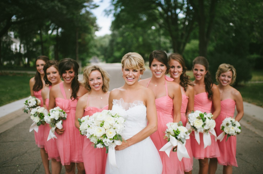 Ready or Knot Bridesmaids - Peetz wedding, Amsale bridesmaid dresses in Guava, Ready or Knot, Omaha