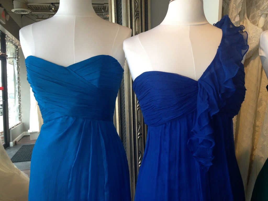 Amsale Bridesmaid Dresses, Cobalt &amp; Turquoise, Ready or Knot