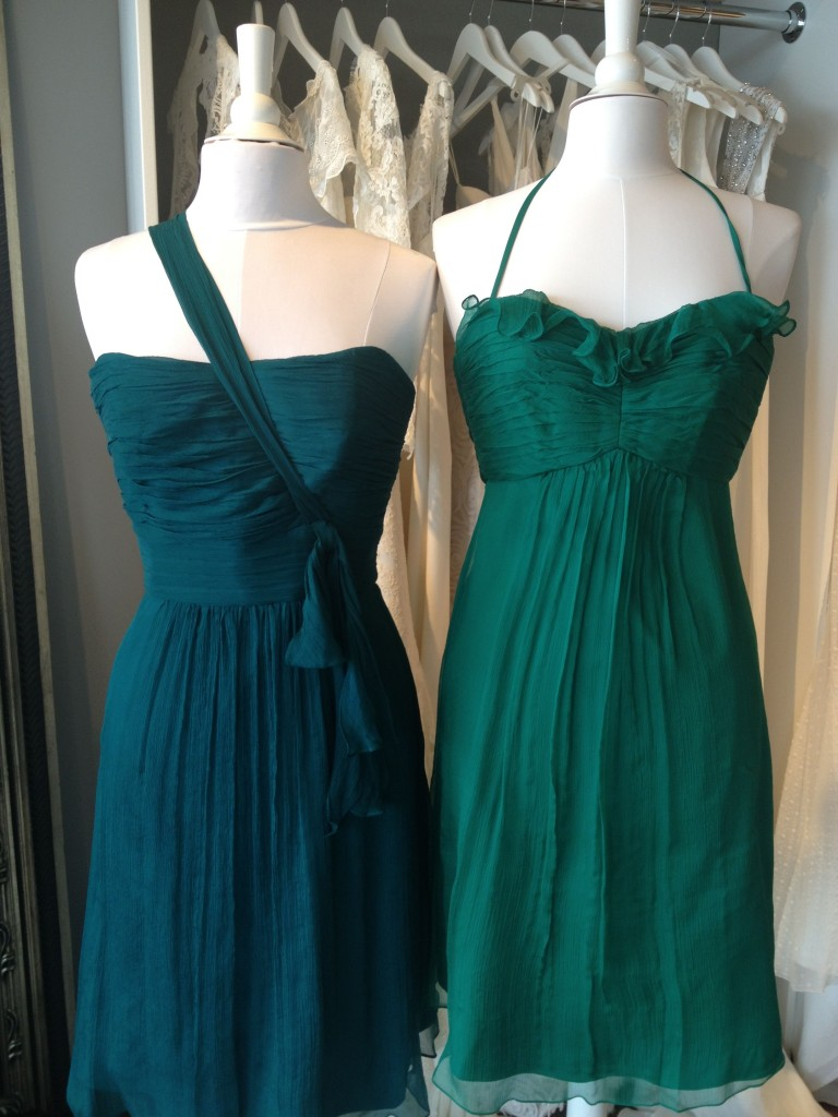 Amsale Bridesmaid Dresses, Emerald & Mallard, Ready or Knot