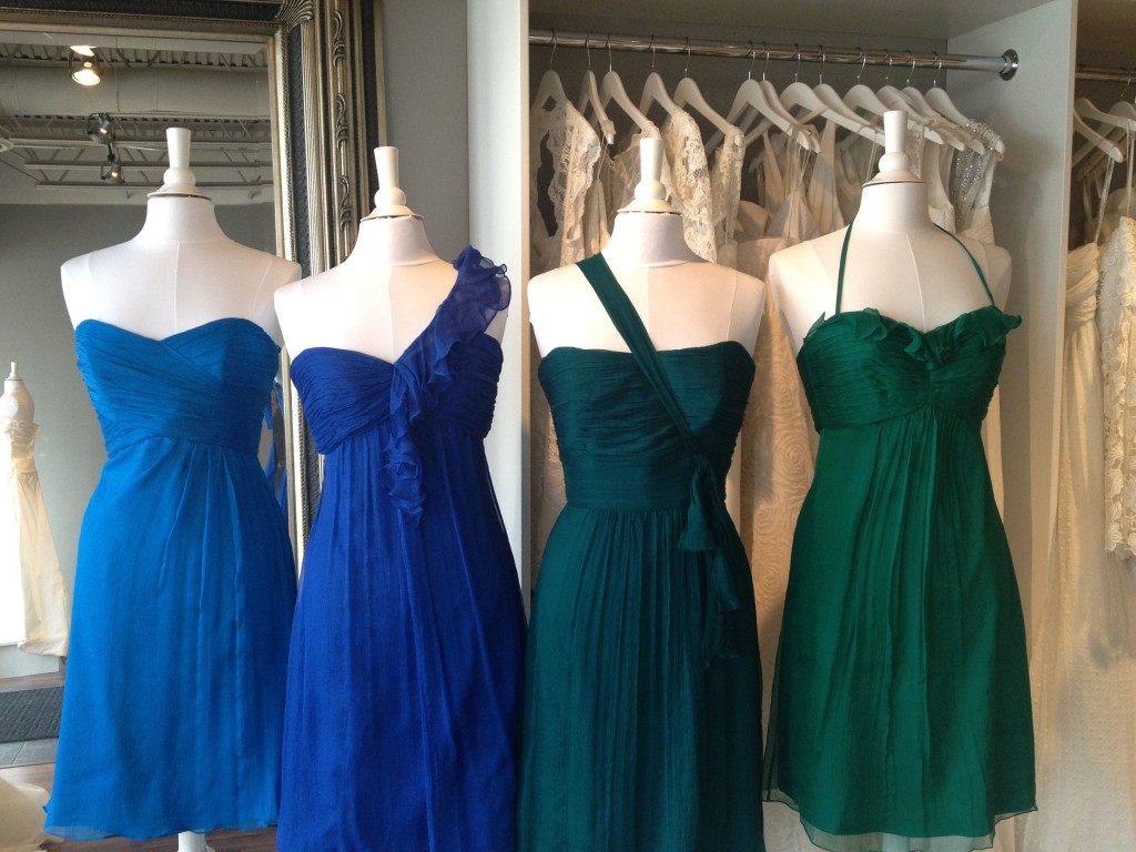 Amsale Bridesmaid Dresses, Emerald, Mallard, Cobalt & Turquoise, Ready or Knot