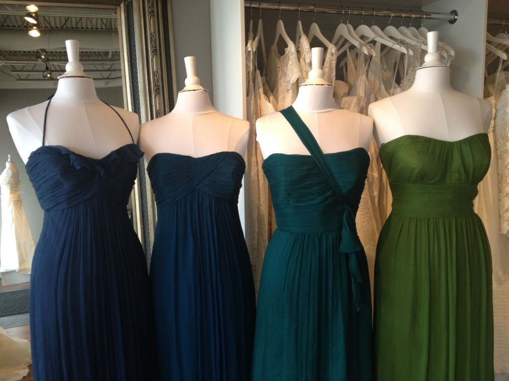 Amsale Bridesmaid Dresses, Grass, Mallard, Pacific & French Blue, Ready or Knot