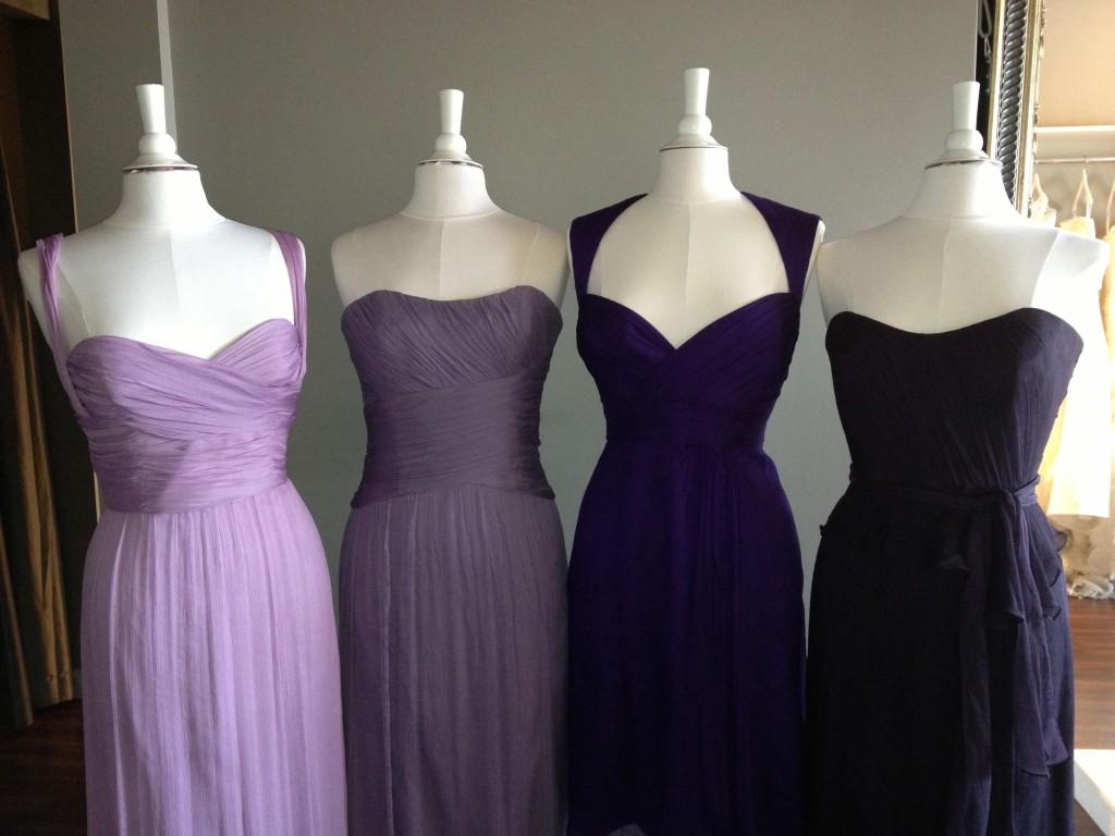 Amsale Bridesmaid Dresses, Orchid, Violet, Amethyst & Ink