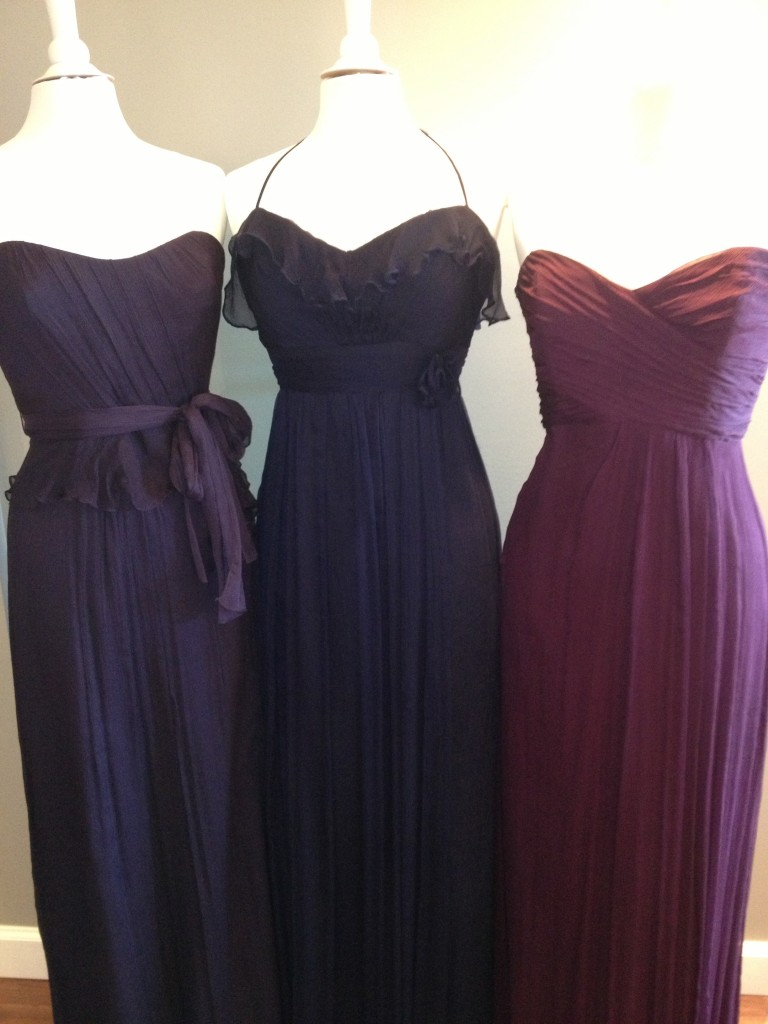 Amsale Bridesmaid Dress, Ink, Navy & Aubergine