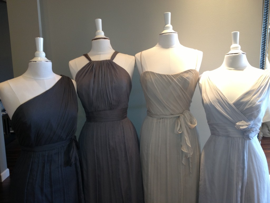 Amsale Bridesmaids Dresses, Charcoal, Graphite, Champagne & Dove