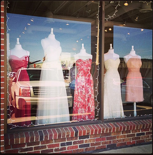 Window Display for Amsale Trunk Show, Ready or Knot, Omaha