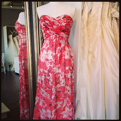 Print Chiffon Amsale Bridesmaid Dress, available at Ready or Knot for the Amsale Trunk Show
