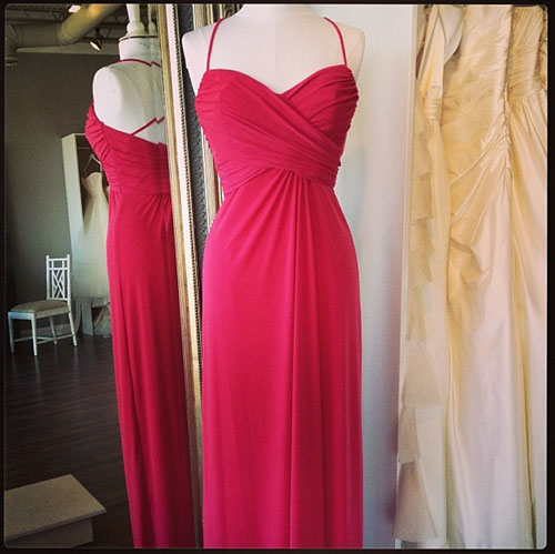 Amsale Jersey Bridesmaids Dress, available at Ready or Knot for the Amsale Trunk Show